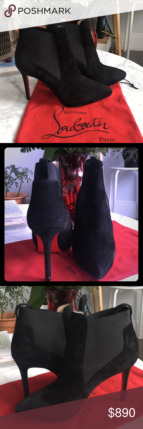 172fccd9af70 Christian Louboutin Crochinetta Ankle Boots Worn only Once ! Like new ! New  collection 2018 Tapered suede Chelsea bootie on slim platform Self-covered  heel