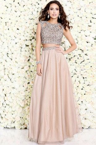 Nude Glam Sleeveless Cropped Set With Glitter 1118