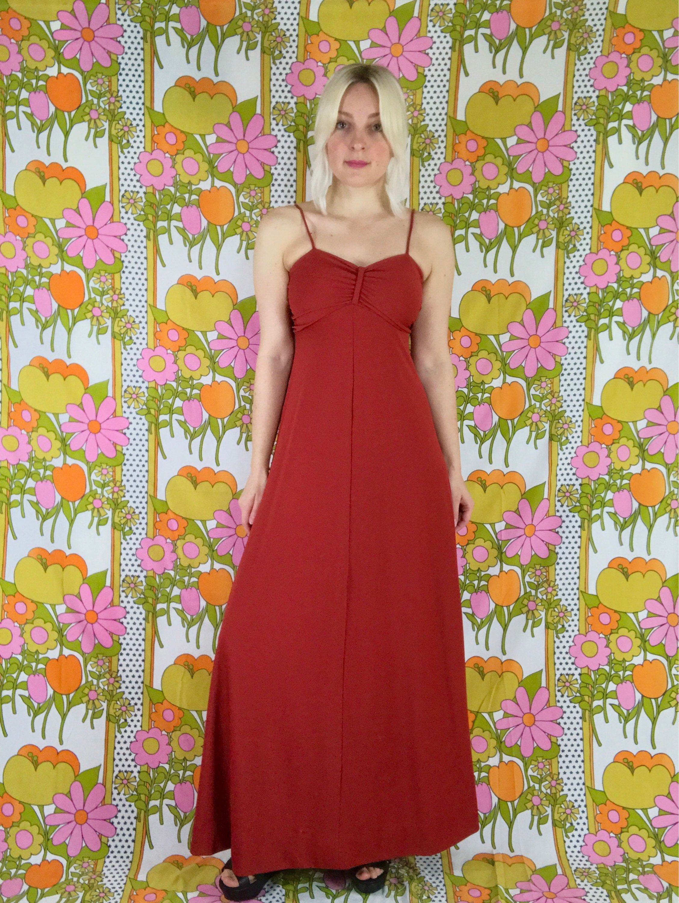 Onhold 1970s Oxblood Red Rouched Maxi Dress Vintage Spaghetti Etsy 70s Prom Dress Vintage Maxi Dress Dresses [ 3000 x 2256 Pixel ]