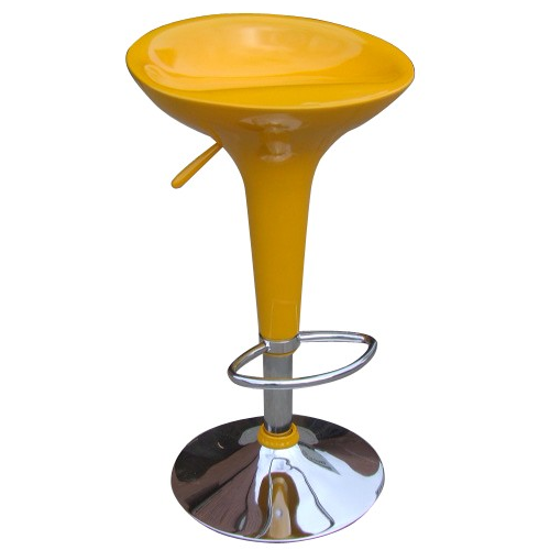 Bombo Bright Yellow And Chrome Retro Kitchen Stool