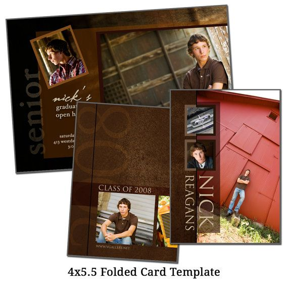 4x5 5 Folded Card Template Rustic Senior Digital File Etsy Card Template Cards Templates