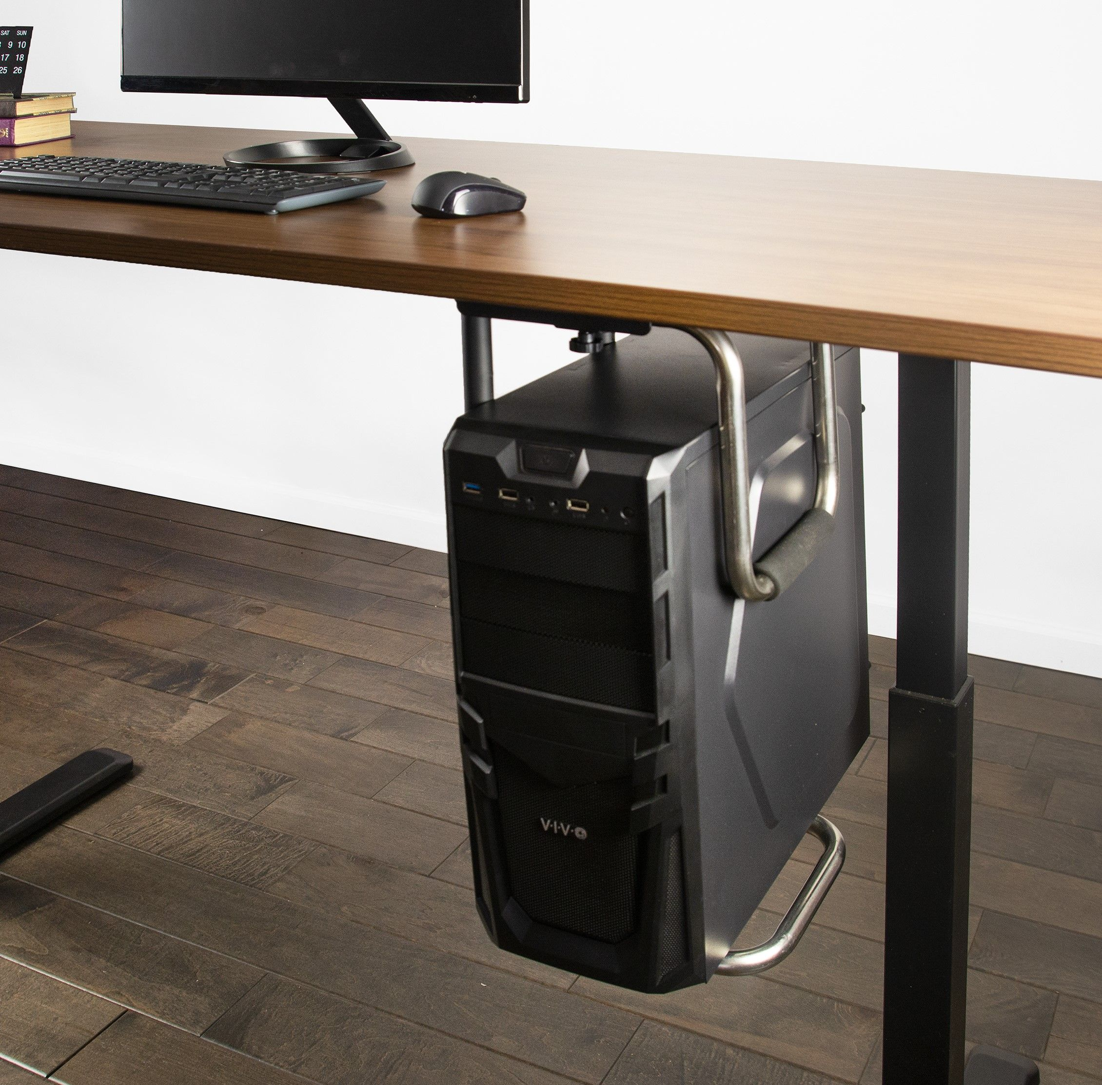 It S Time To Get Your Pc Off Of The Floor And Mounted To The Underside Of A Desk Where It S Easy To Home Office Setup Office Interior Design Home Office Design