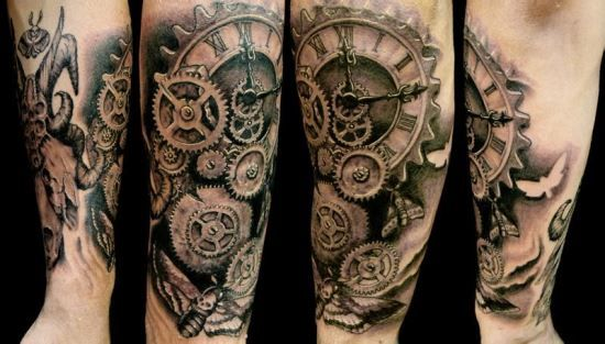 0a124bcb3 Mechanical Steampunk Tattoo On Arm Sleeve | half sleeve tattoo ...