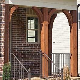 Cedar Bracket Corbel And Gable Ideas Adding Cedar For Curb Appeal Brick Exterior House Wood Columns Porch Red Brick House