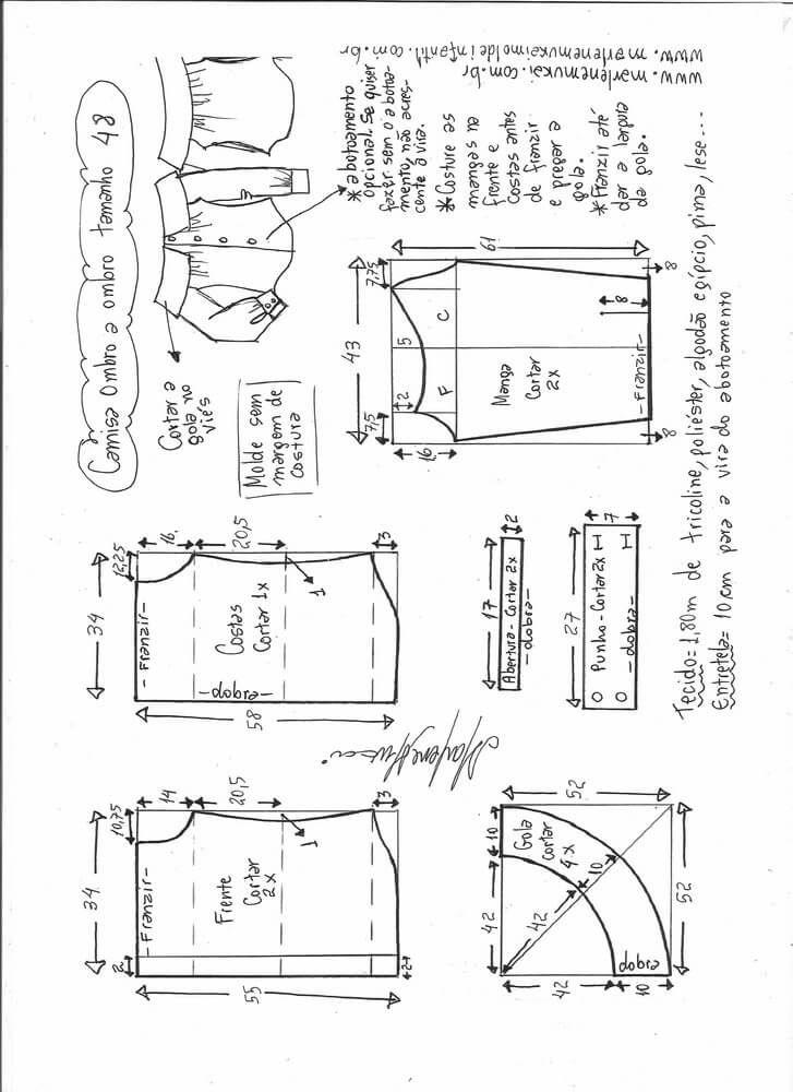 Patrón de Camisa manga larga sin hombros | patronaje | Pinterest ...