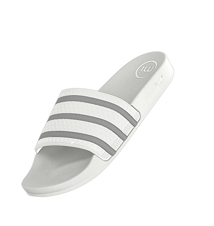 93bb54f91ad45 adidas mi adilette Custom Slides...All white with black stripes ...