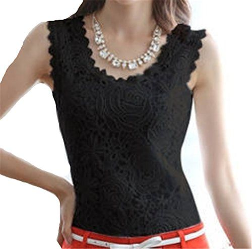 JELLO Women Lace Floral Crochet Knit Vest Tank Top Shirt Blouse Small Black Jell-O http://www.amazon.com/dp/B00VP4B7V6/ref=cm_sw_r_pi_dp_51Vmvb10XHHE4