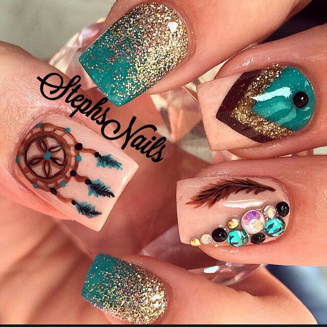 30 Boho Dream Catcher Nail Art Designs http://miascollection.com Indian Nail - 30 Boho Dream Catcher Nail Art Designs NAILS Pinterest Nail