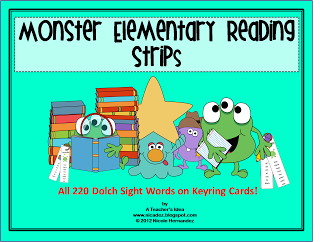 A Teacher's Idea: This is a great way to get your kiddos reading and enjoying it too! These Dolch sight words are printed in vertical form on strips that are stored on keyrings. The 5 sets of Dolch words range from Preprimer to Grade 3 and are grouped for easy reference. These cards can be printed on cardstock, laminated and mounted on keyrings either in separate sets or together. Your cards can be easily stored hanging in your literacy center or from your desk and near to you.