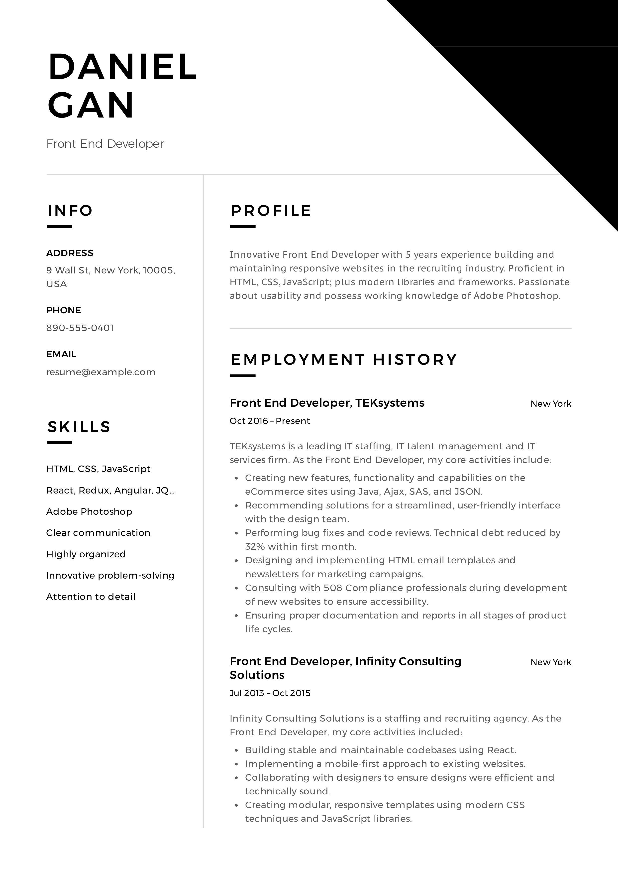 FrontEnd Developer Resume & Guide Resume guide, Resume