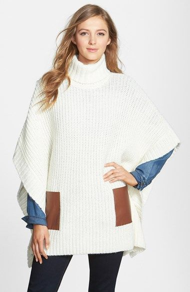 absolutely in love with this leather pocket turtleneck poncho (currently  40% off and comes d4d2c2600478