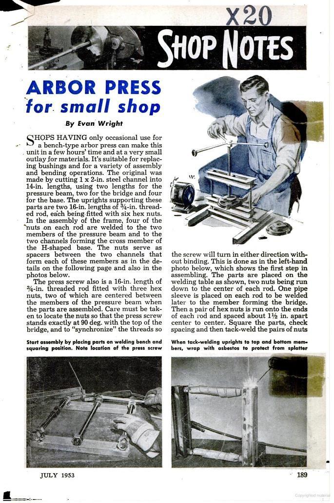 Popular Mechanics Arbor Press Plans