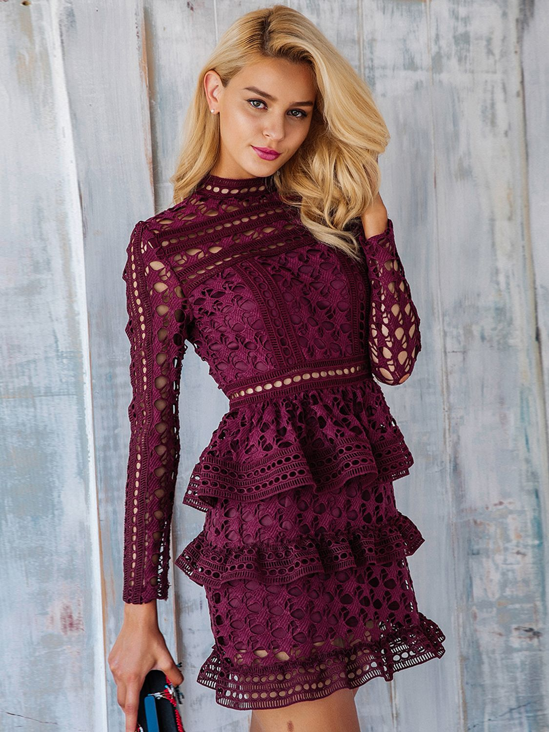 ccfa268ccc27 Burgundy High Neck Long Sleeve Layered Cut Out Lace Dress