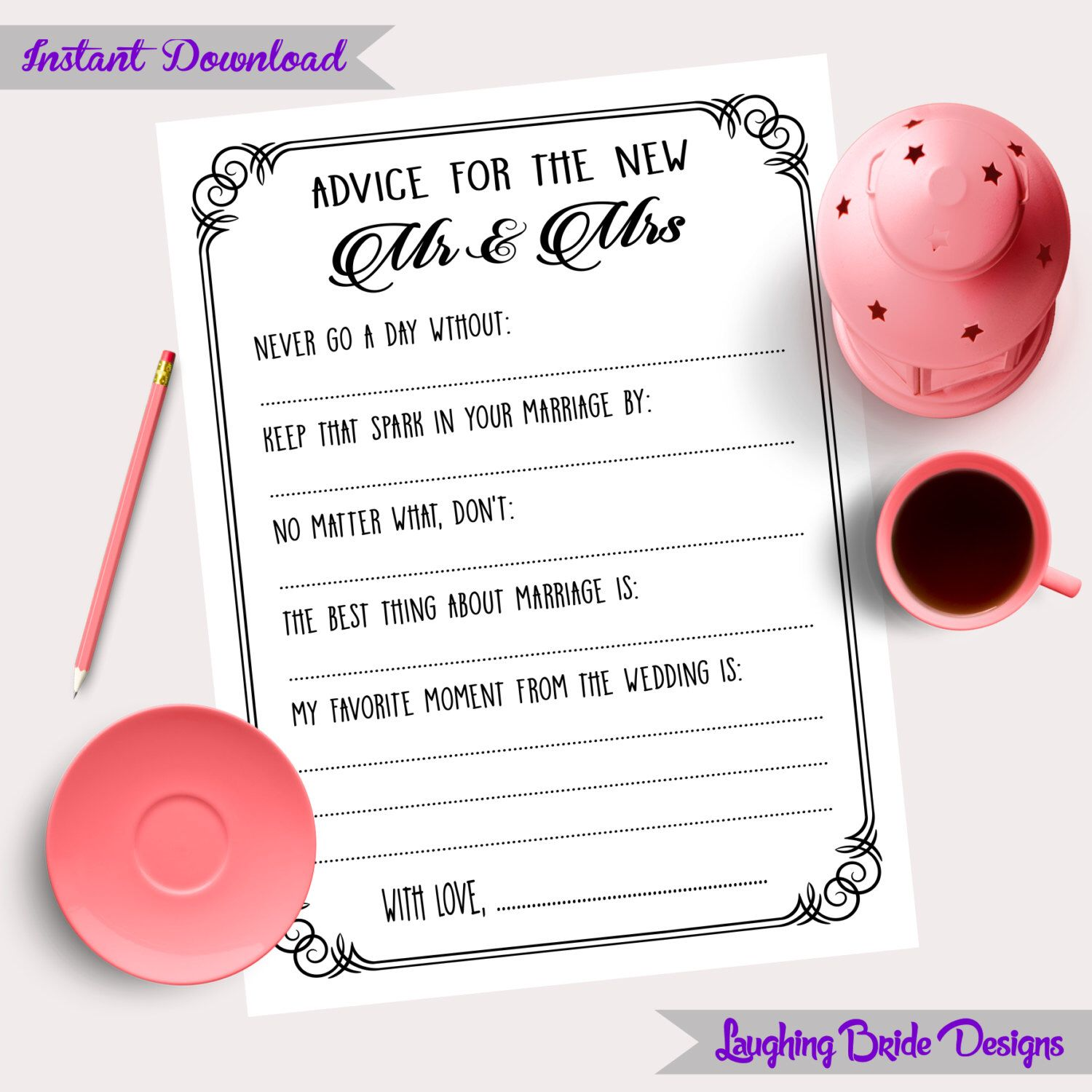 Printable Mad-lib Wedding Advice cards in black and white 5x7 ...