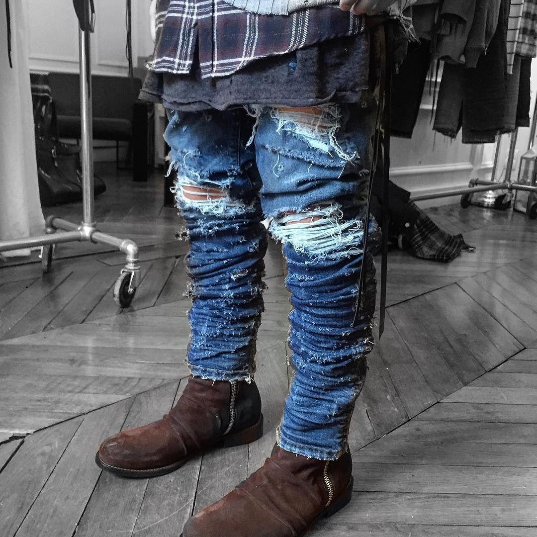 AMIRI AW16 | shotgun denim and stack boots by mikeamiri_