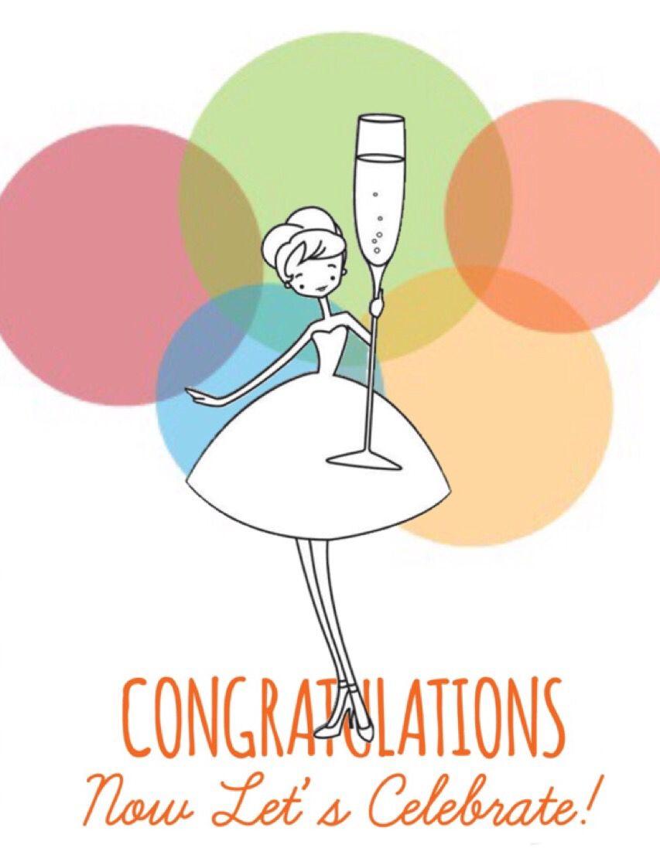 Congratulación, chica brindando