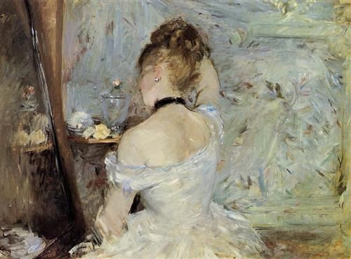 Young Woman at the Mirror - Artist: Berthe Morisot Completion Date: 1880 Style: Impressionism Genre: genre painting Technique: oil Material: canvas Dimensions: 60.3 x 80.4 cm Gallery: Art Institute of Chicago, Chicago, IL, USA Tags: female-portraits