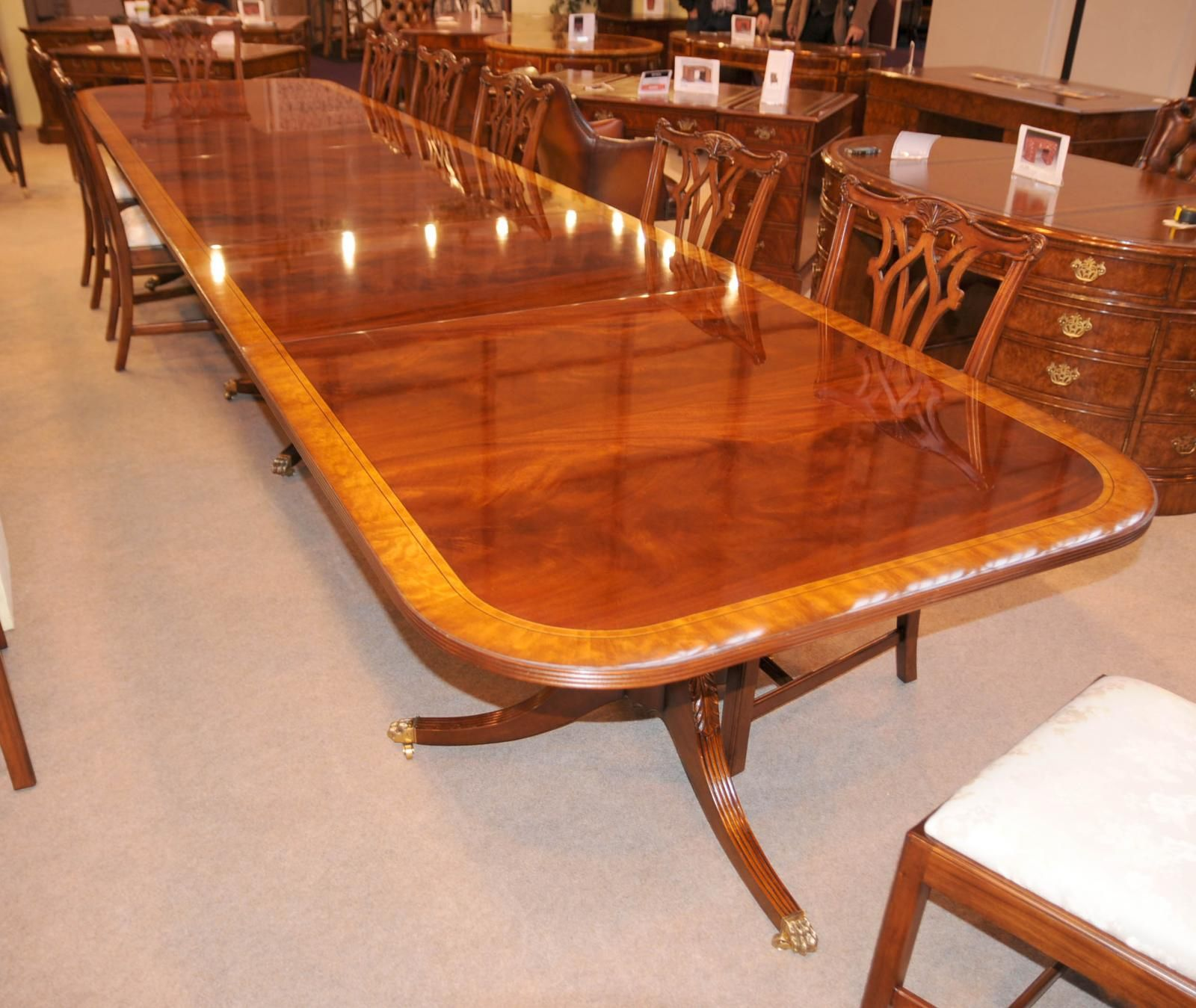 Photo Of 16 Ft Regency Dining Table Triple Pedestal Mahogany Diner