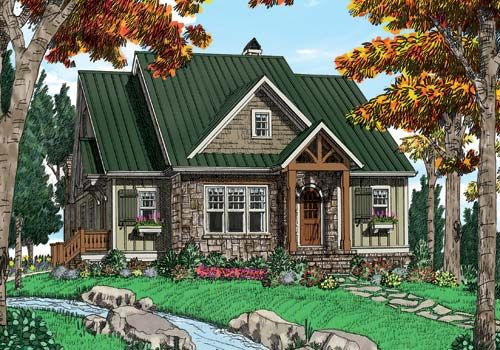 Ozark House Plan This Delightful Mountain Cottage Is Ideally Found By A Lake Or River Cottage Style House Plans Lake House Plans House Plans