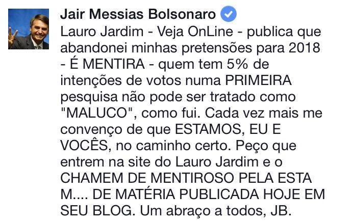 @DepBolsonaro faz pedido p/ pessoas de bem após @radaronline divulgar falsa nota sobre suas pretensões em 2018.