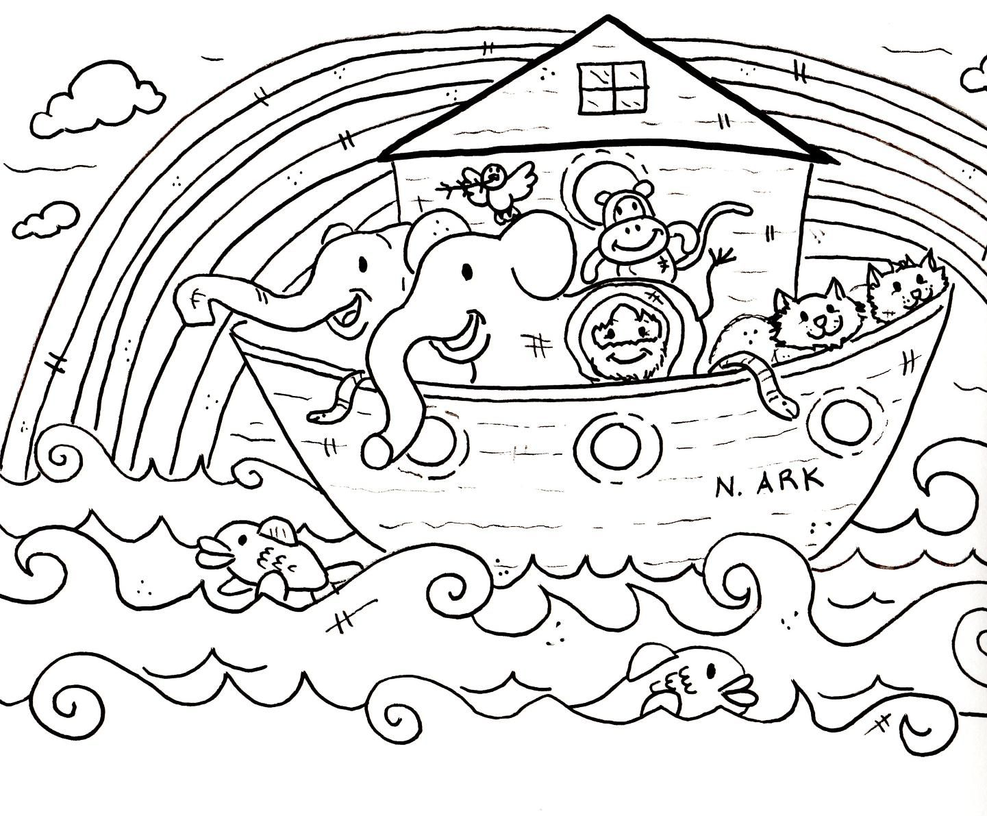 Children's coloring pages noah's ark
