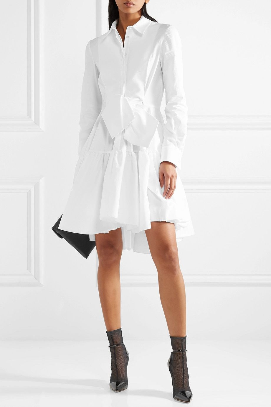 Antonio Berardi Piqué Paneled Cotton Blend Poplin Shirt Dress Net A Porter Com