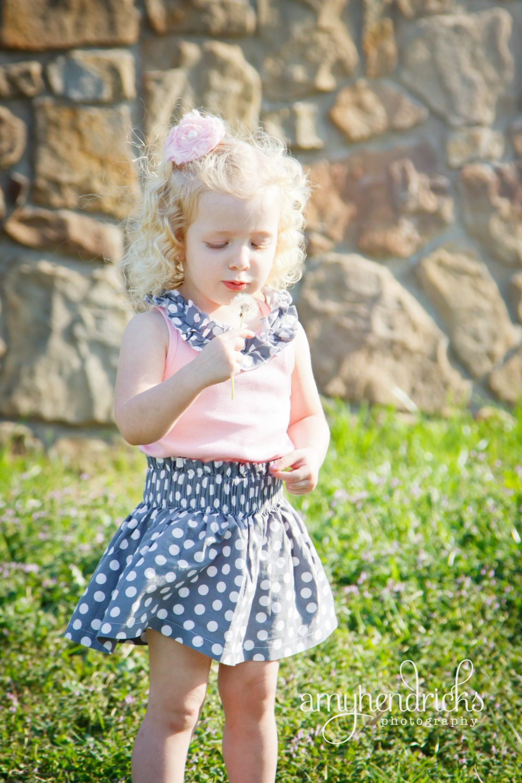 Gray and White Polka Dot Skirt with Pink Ruffle Neck Tank Top Set. $27.50, via Etsy.