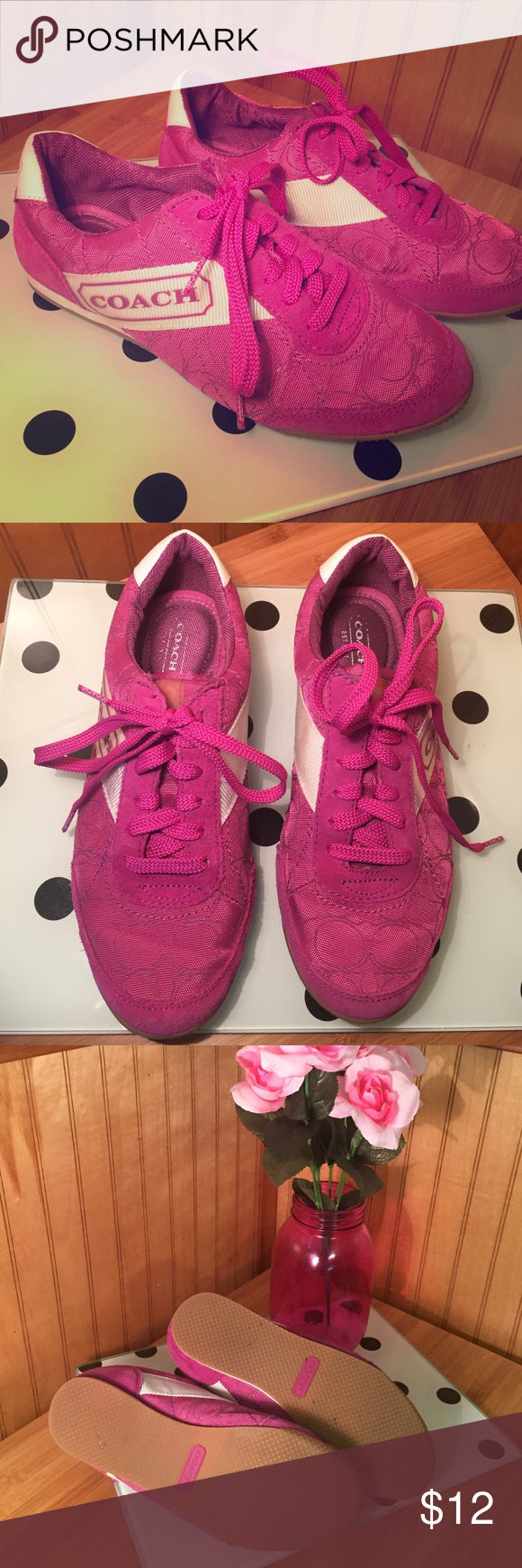 Coach Sneakers OMG! These purple Coach sneakers will make your wardrobe pop! They are gently used and only show light signs of wear. Coach Shoes Sneakers
