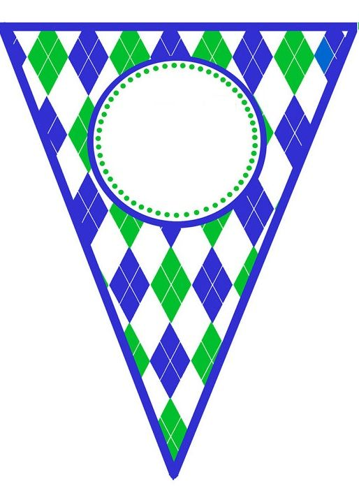 Blue Green Argyle Pennant Banner Template Flag Template Flag Printable