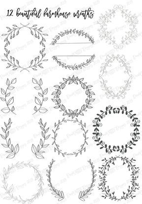 Procreate Farmhouse Set of 12 Wreath Stamps Stamp