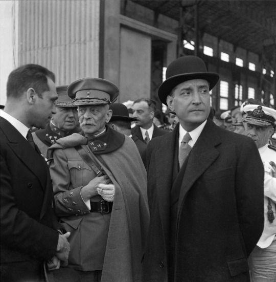 Portuguese President Óscar Carmona, and architect of the 'Estado Novo'; Prime Minister António de Oliveira Salazar, Portugal, c. 1945-1951