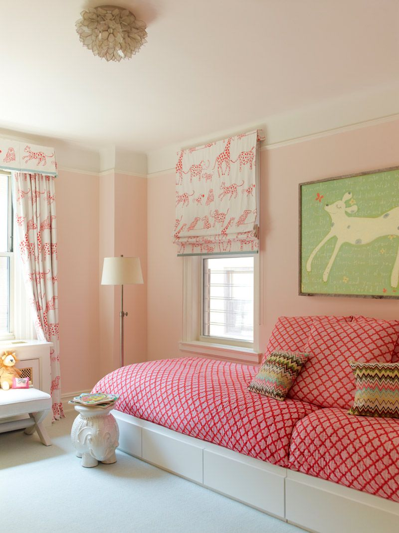 Girls Bedroom Pink Daybed. Trim With Cream Above And