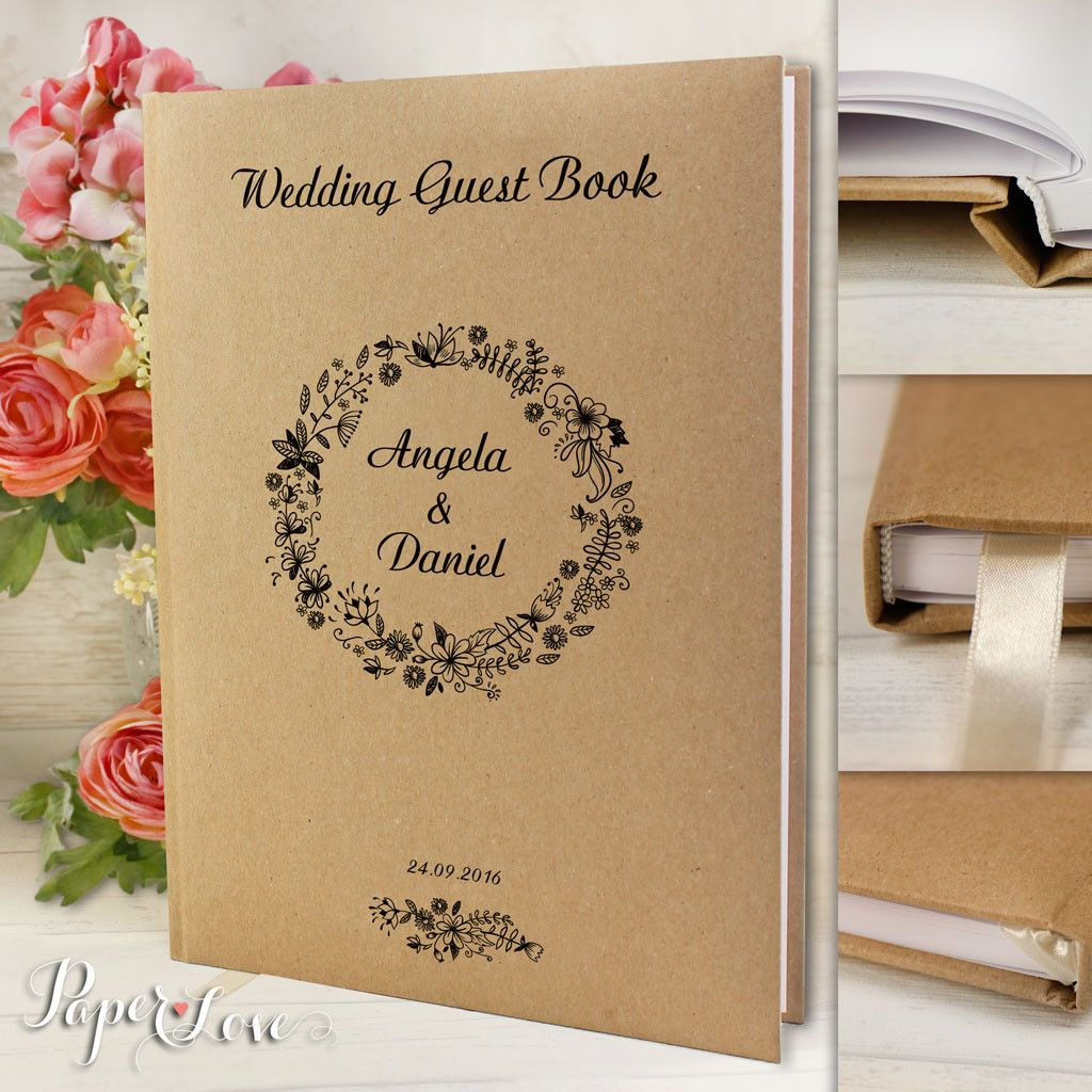 Recycling Craft Style Guest Book With Satin Ribbon Grey