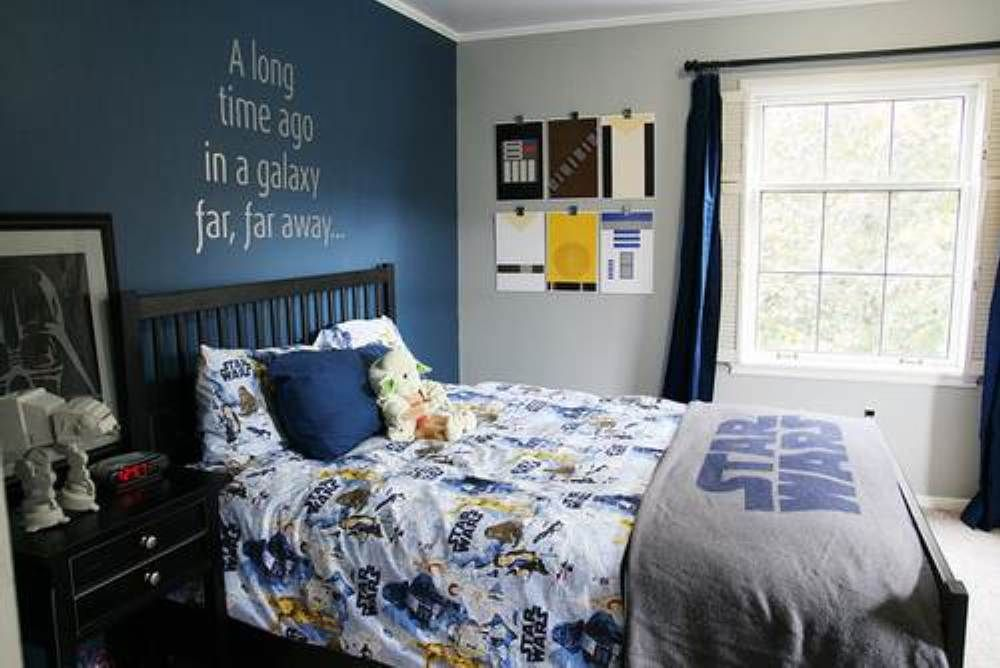 kid star wars bedroom ideas. One darker accent wall, as not darken ...