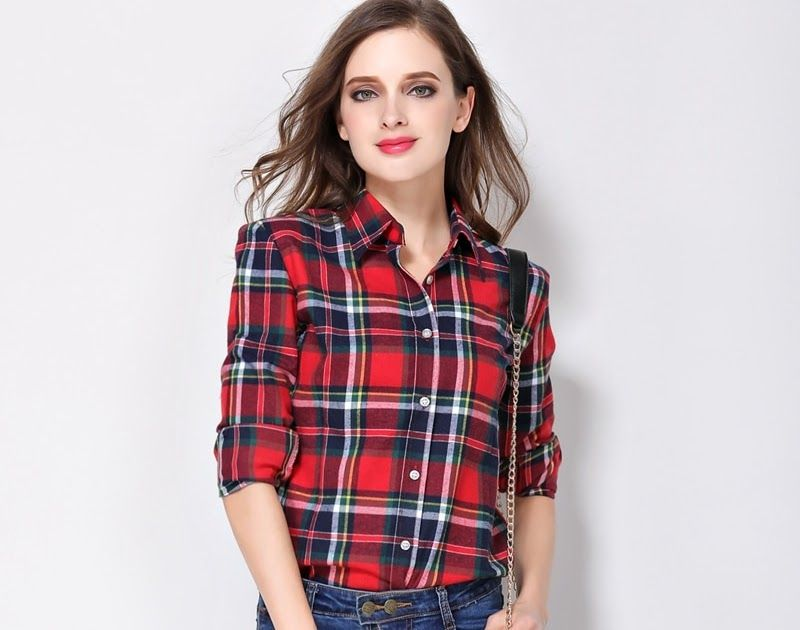 e4d67ab53903e SALE Women Shirt Blouses Plus Size 2018 Hot New Spring Flannel Cotton Long  Sleeve Plaid Shirt