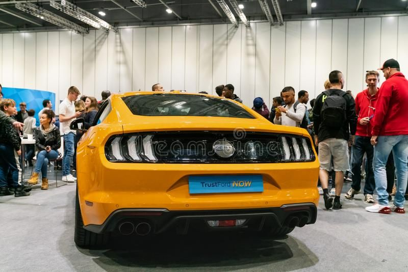 Yellow Ford Mustang Gt At London Motor Show 2019 Royalty Free