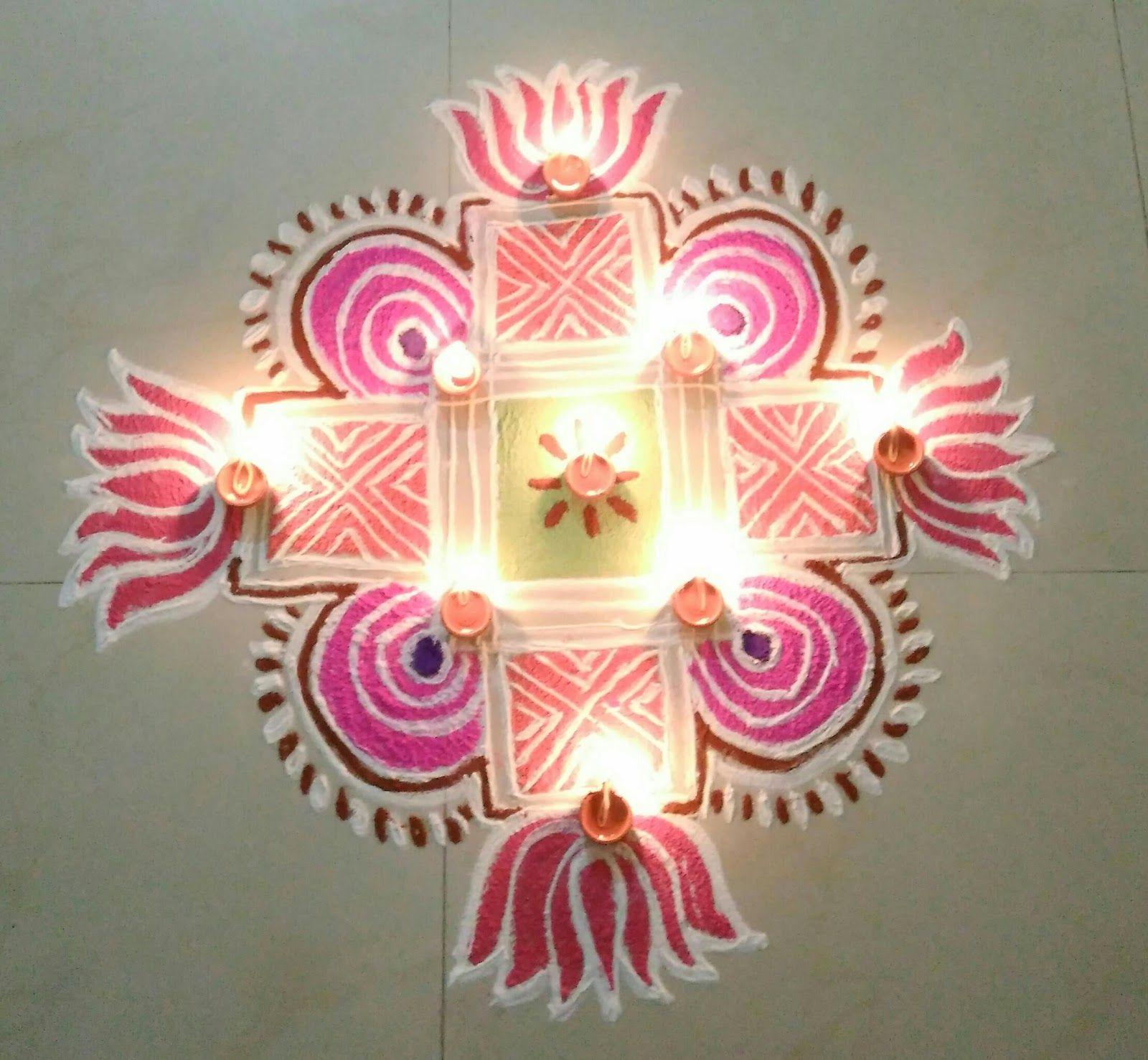 Karthigai Deepam Special!! A colourful Nallu Moolai Kolam drawn ... for Karthigai Deepam Kolam  131fsj