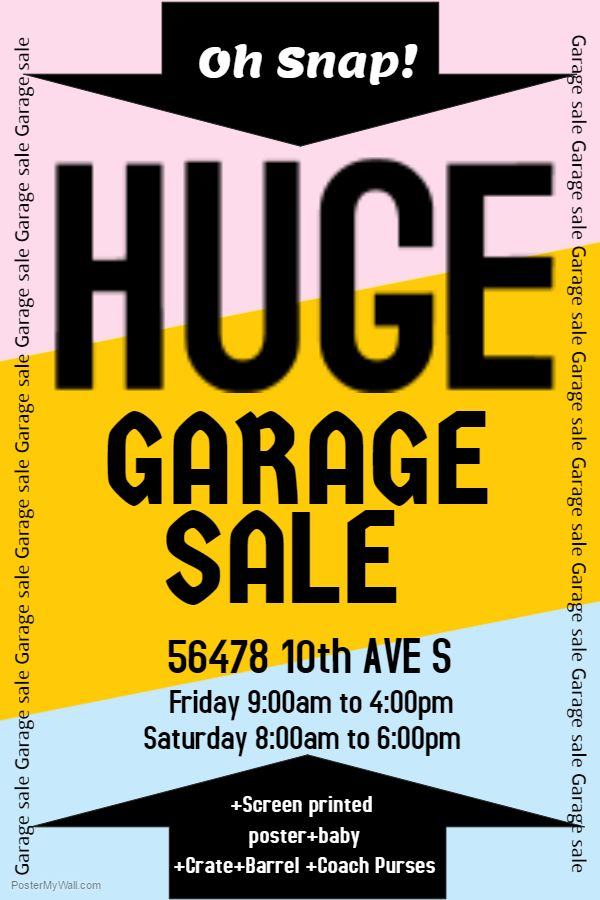 Garage Sale Poster Template Click on the image to customize on - for sale poster template