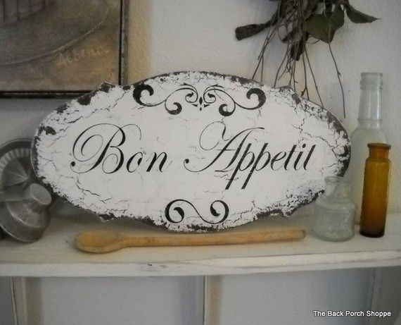 BON APPETIT Shabby Cottage Vintage Style Kitchen Signs 14 x 7 on Etsy, $34.95