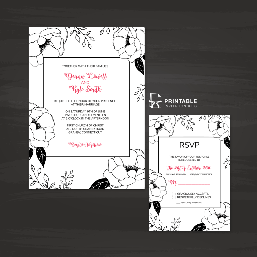 free printable pdf invitation and rsvp black and white floral border wedding invitation and rsvp - Wedding Invitations And Rsvp