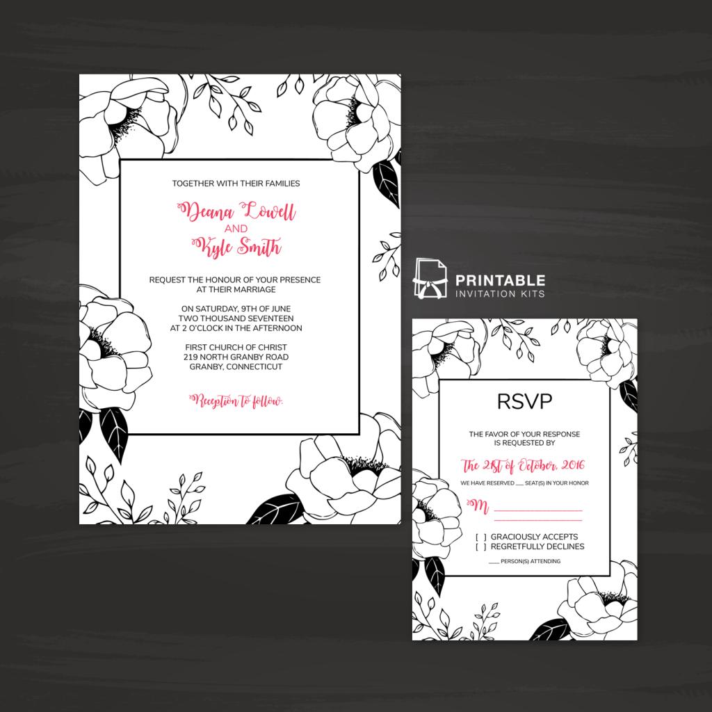 Free printable pdf invitation and rsvp black and white floral free printable pdf invitation and rsvp black and white floral border wedding invitation and rsvp stopboris Gallery