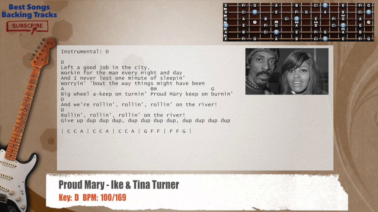 Proud Mary Ike Tina Turner Guitar Backing Track With Chords And