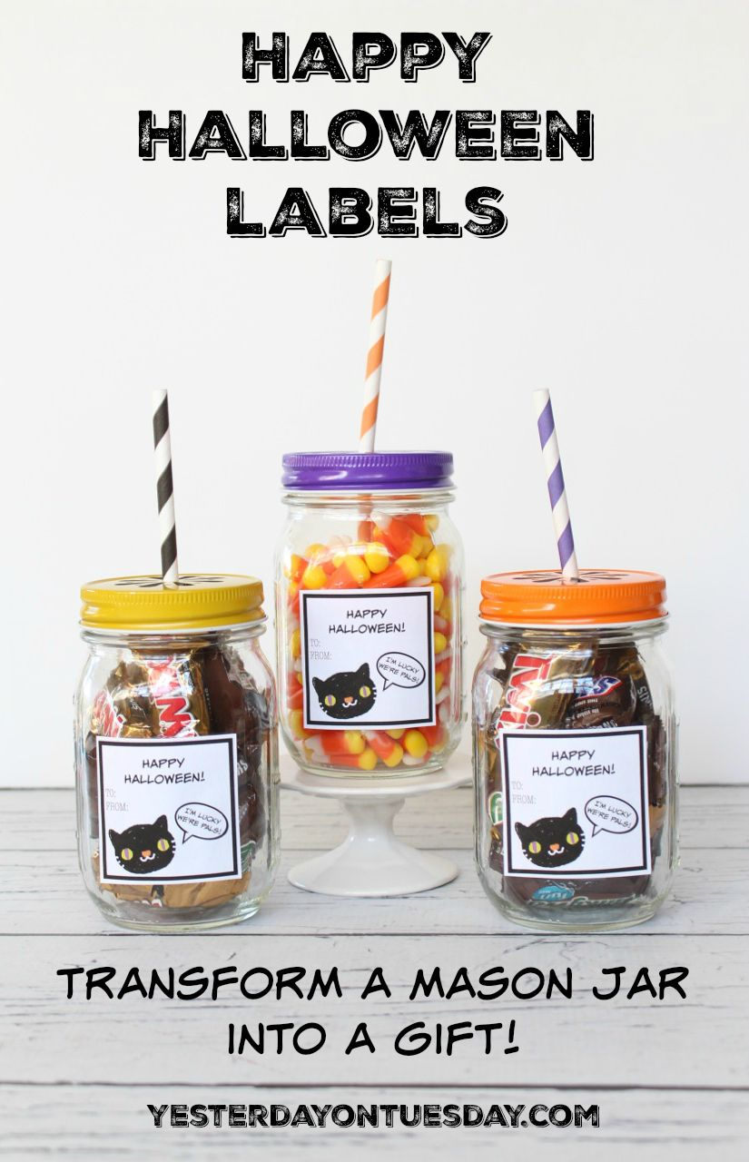 Happy Halloween Mason Jar Gift And Labels Cute Labels To Print Out And Transform Any Mason Jar Into A Fun Halloween Gift