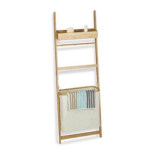 Relaxdays Leiterregal aus Bambus, Badregal mit 85 L Wäschebeutel - handtuchhalter für küche