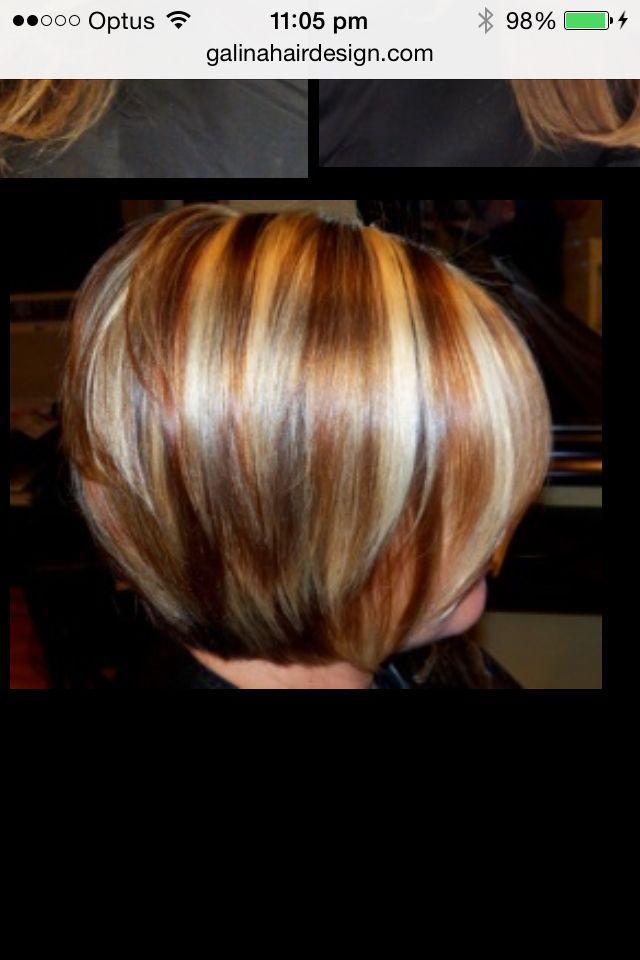 copper stripes in bob hair colour