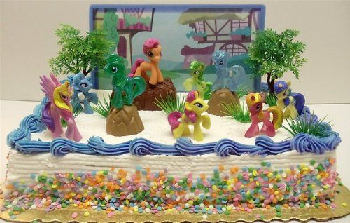 My Little Pony Birthday Cake Topper Featuring 10 Random My Little Pony Characters, Trees, Boulders, Backdrop and Other Themed Decorative Cake Pieces Decorative Cakes,http://www.amazon.com/dp/B00D0EF02G/ref=cm_sw_r_pi_dp_oQxIsb0ASCYPP0F9