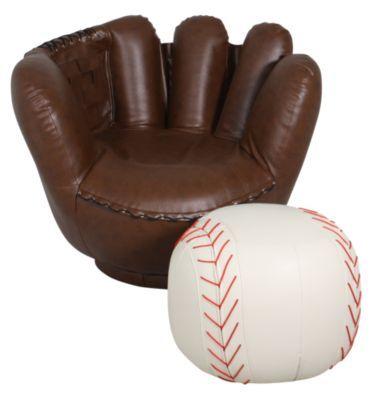 Wondrous Homemakers Furniture Baseball Glove Chair Ottoman Crown Inzonedesignstudio Interior Chair Design Inzonedesignstudiocom