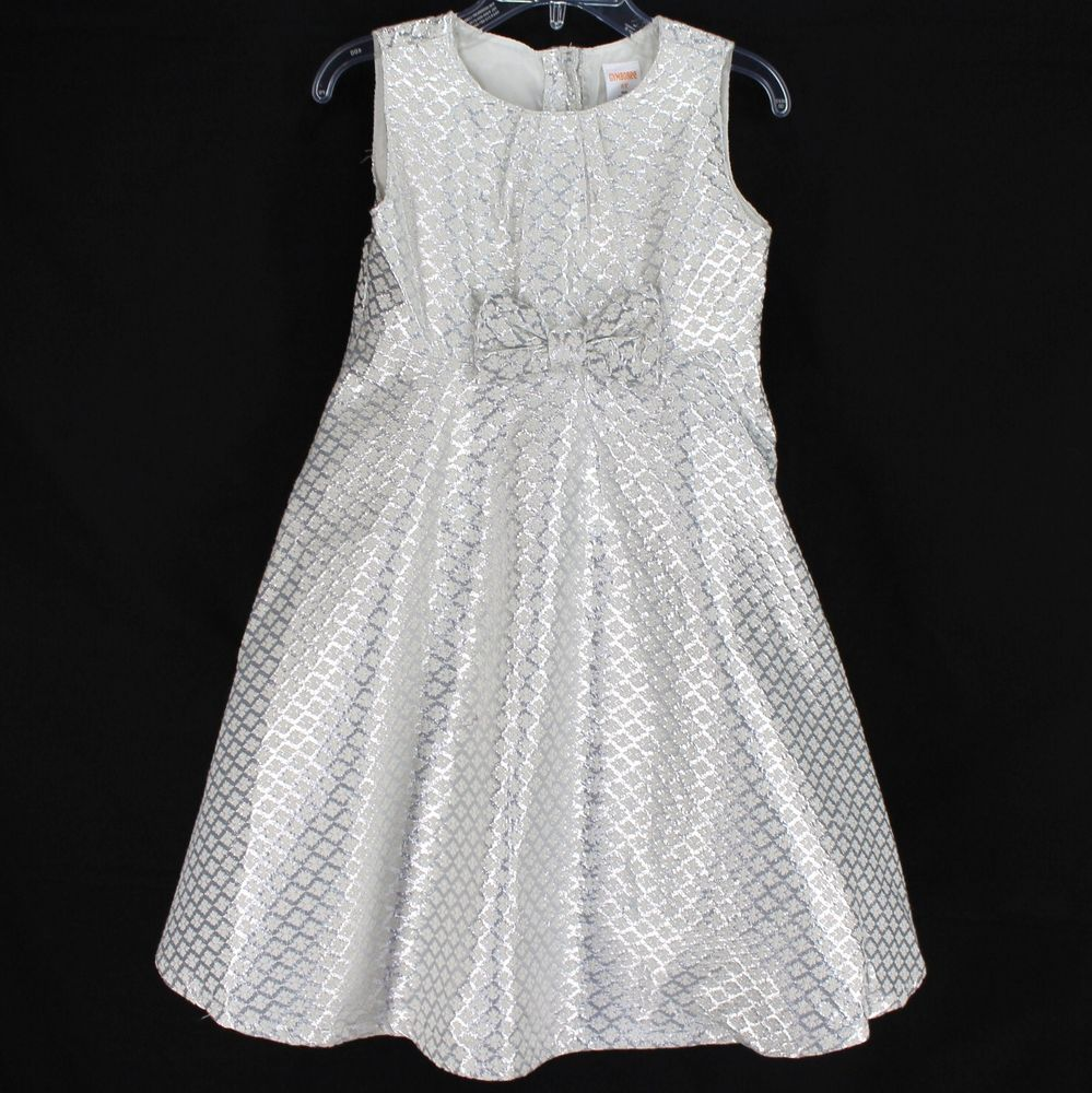 02d1b2e55 Gymboree Sparkle Jacquard Bow Dress 3T 4T 5T Silver Metallic New ...