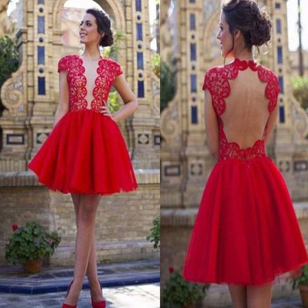 popular blush red open back sexy with short sleeve cocktail