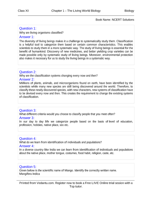 NCERT Solutions for Class 11 Biology Chapter 1 part-1 | ncert